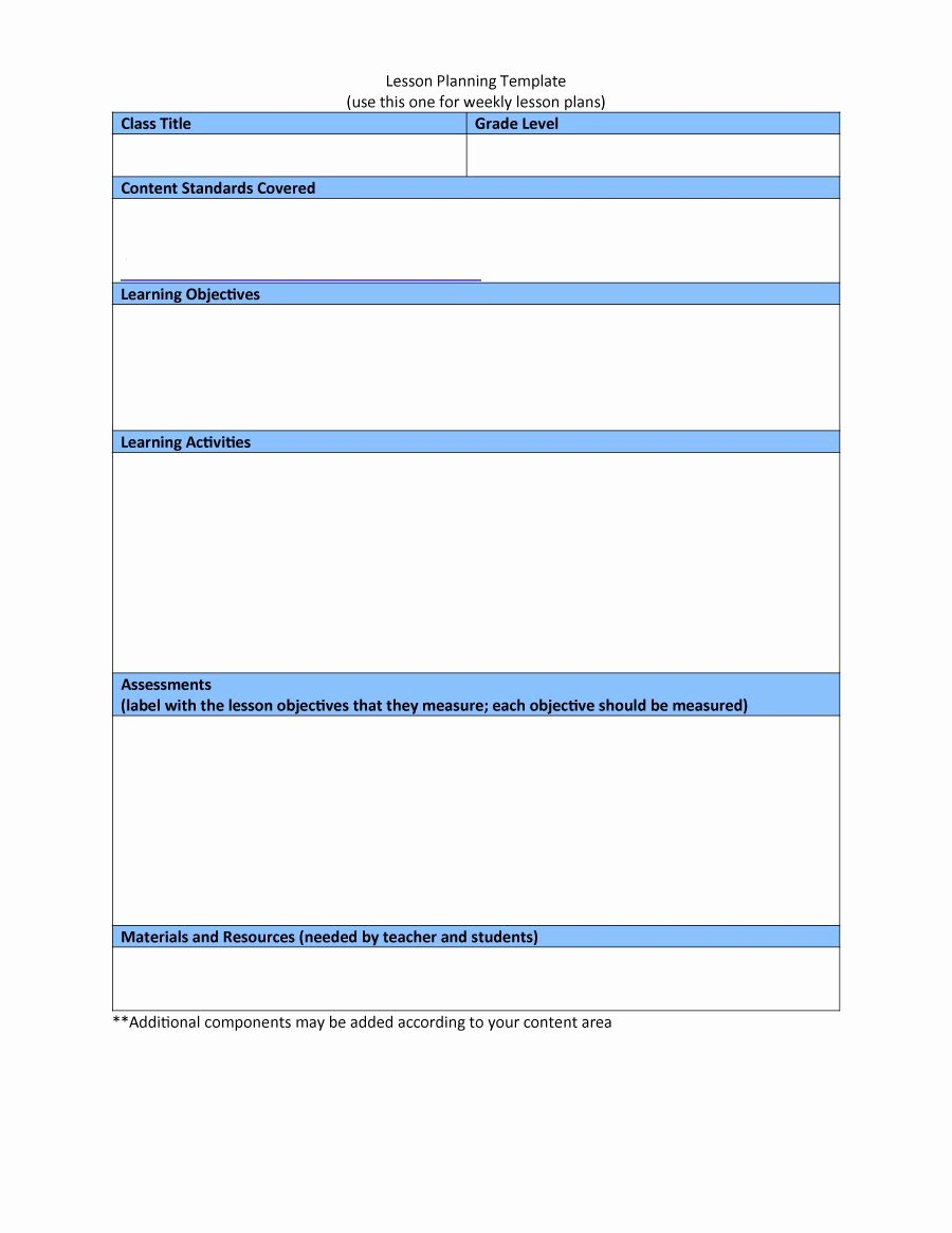 Free Weekly Lesson Plan Template Beautiful 44 Free Lesson Plan Templates [ Mon Core Preschool Weekly]