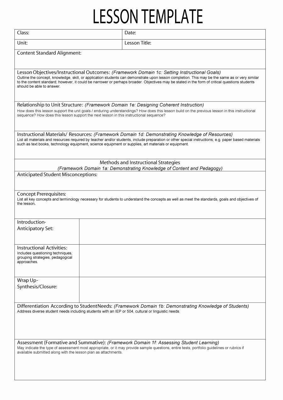 Free Weekly Lesson Plan Template Elegant An Example Of A Lesson Plan Template – 44 Free Lesson Plan