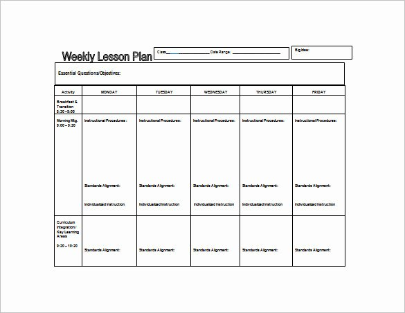 Free Weekly Lesson Plan Template Inspirational Weekly Lesson Plan Template 9 Free Word Excel Pdf