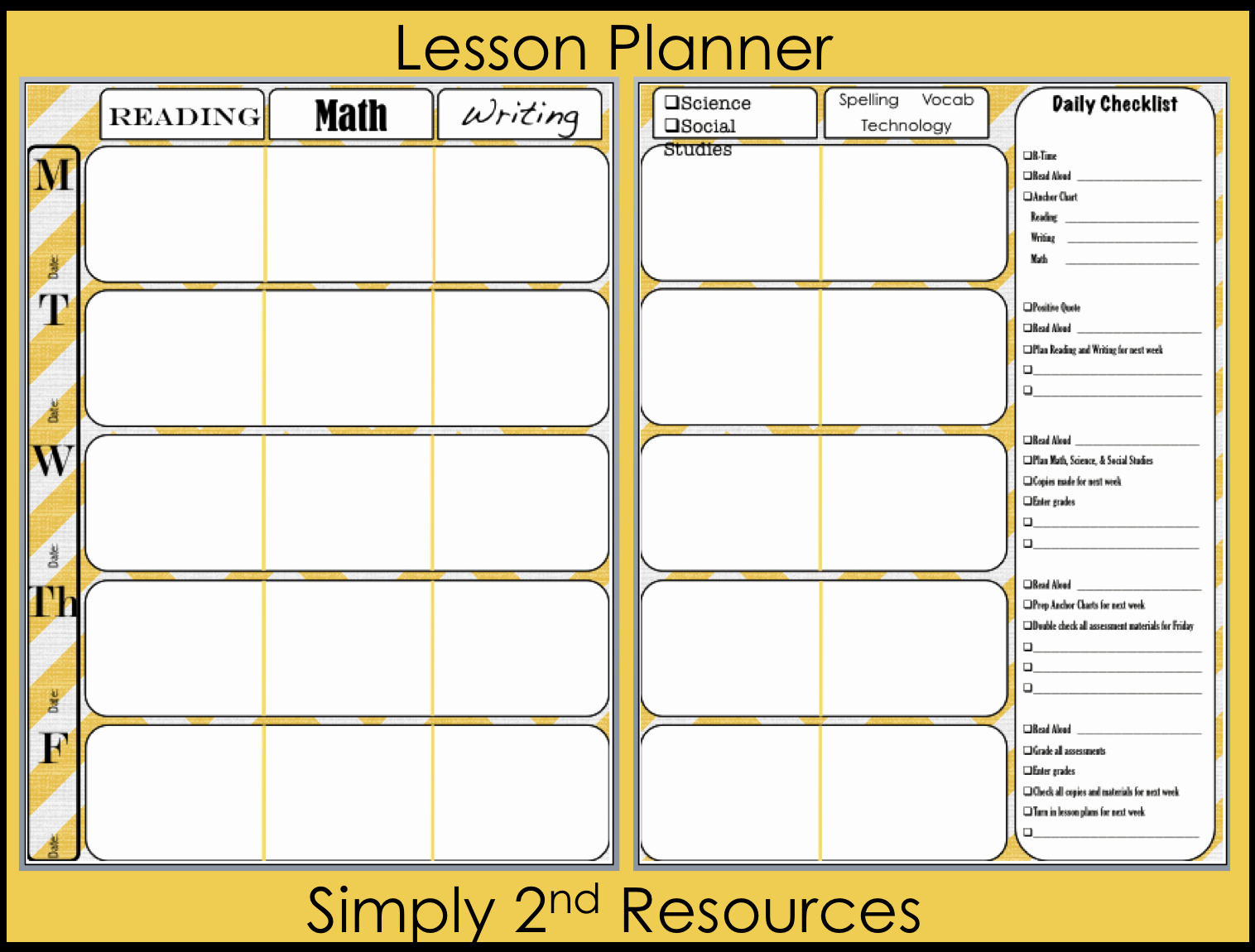 Free Weekly Lesson Plan Template Luxury Simply 2nd Resources Lesson Plan Template so Excited to