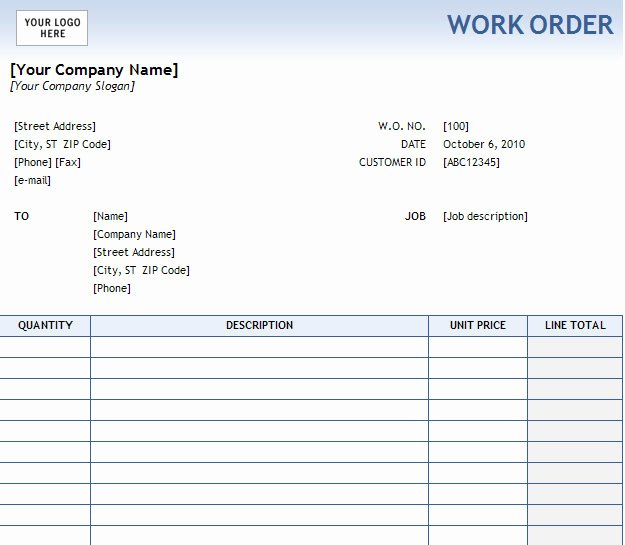 Free Work order Template Beautiful 40 Work order Template Free Download [word Excel Pdf]