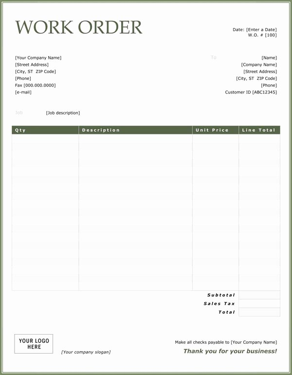 Free Work order Template Elegant Work order Sample