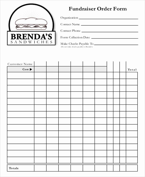 Fundraiser order form Template Lovely Free Sample order form 12 Examples In Word Pdf