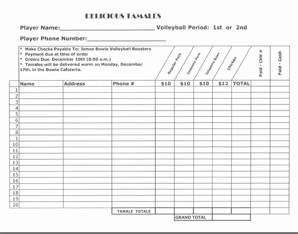 Fundraising order form Template Luxury Blank Fundraiser order form Template