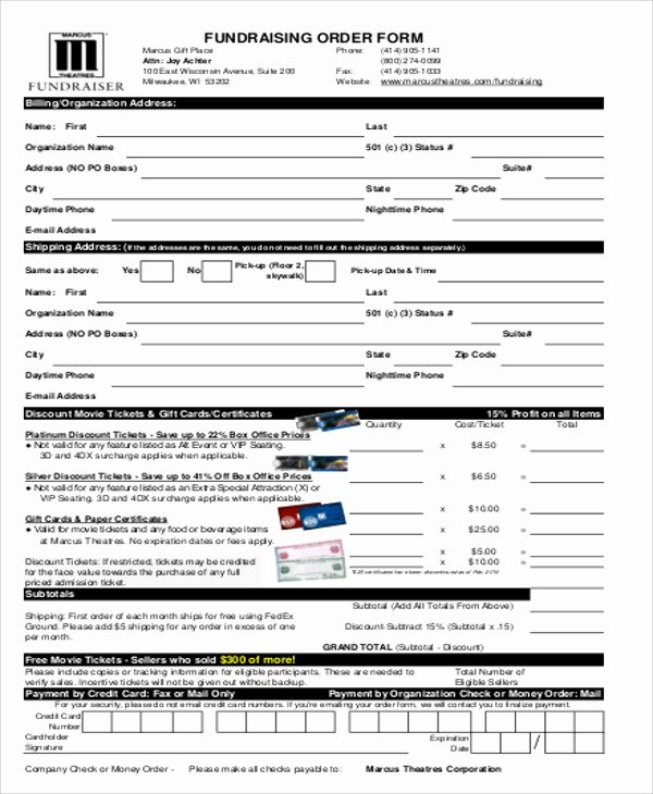Fundraising order form Templates Luxury Sample Fund Raiser order form 9 Examples In Word Pdf