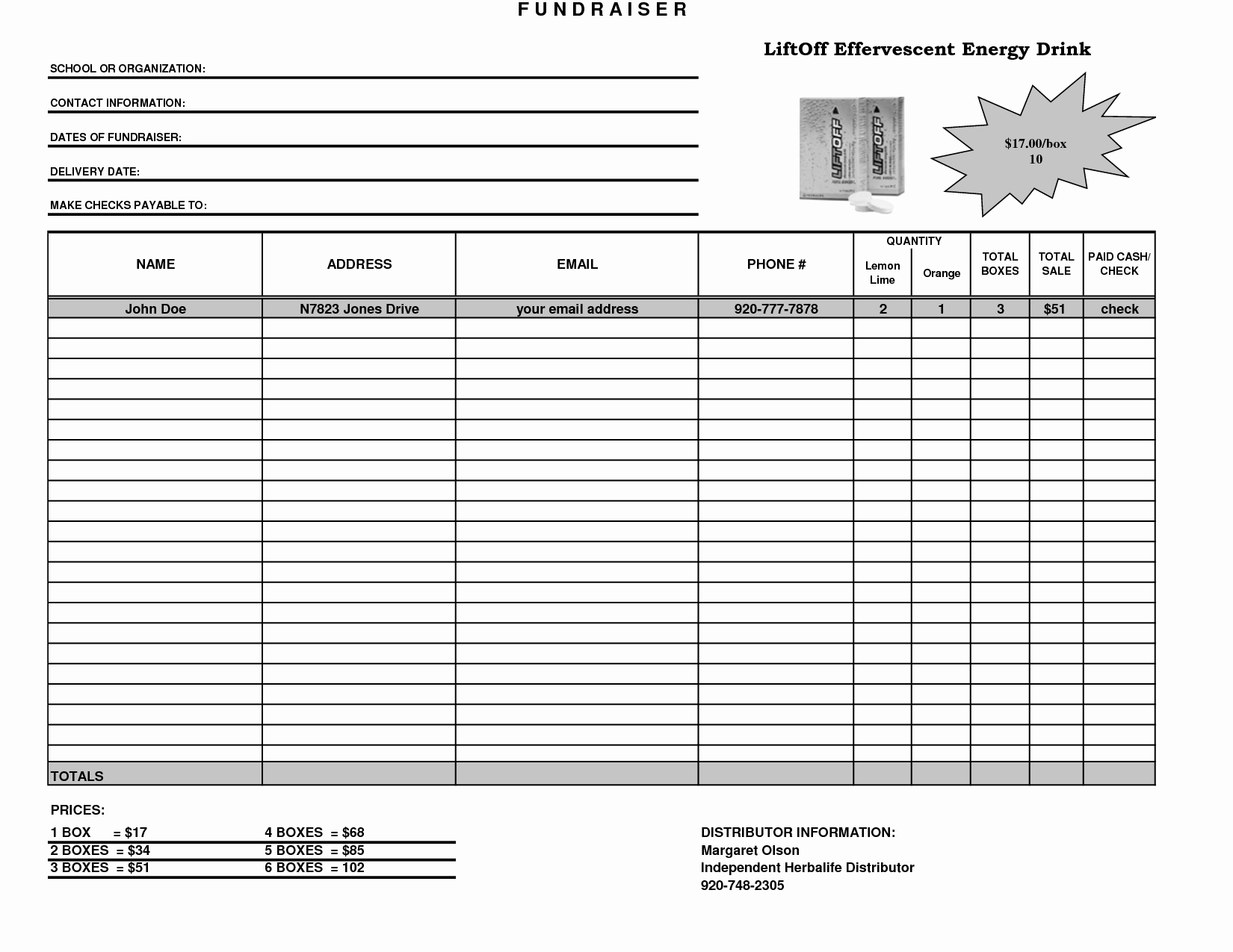 Fundraising order form Templates Unique Fundraiser Template Excel Fundraiser order form Template