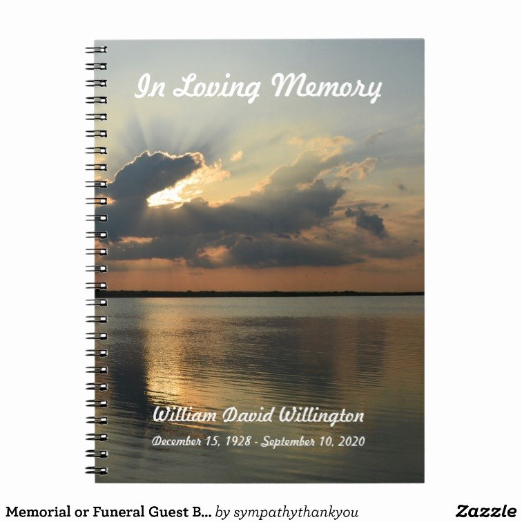 Funeral Guest Book Template Awesome Memorial or Funeral Guest Book Notebook