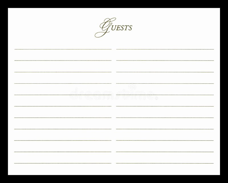 Funeral Guest Book Template Best Of Wedding Guest Book Stock Image Image Of Autograph