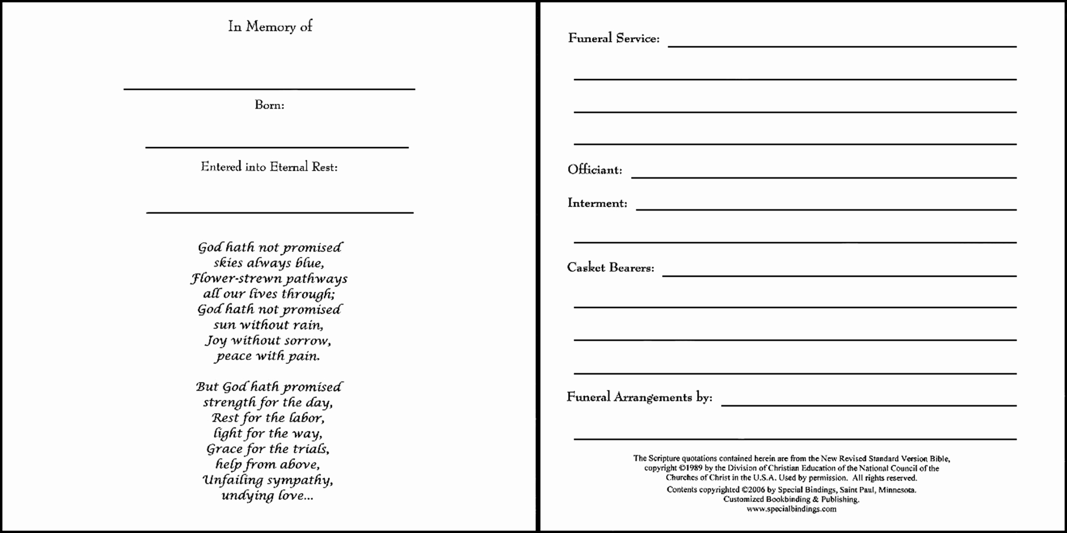 Funeral Guest Book Template Inspirational Memorial Book