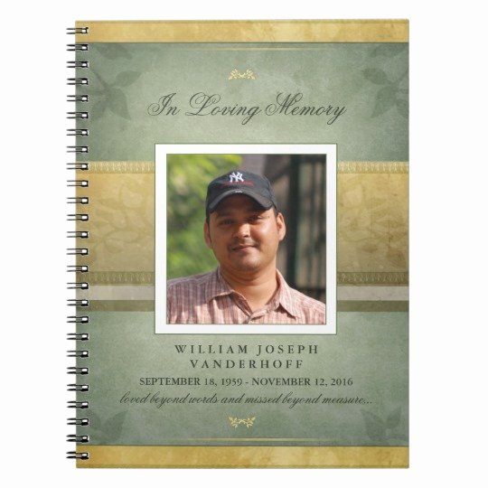 Funeral Guest Book Template New Elegant Green & Gold Memorial Funeral Guest Book