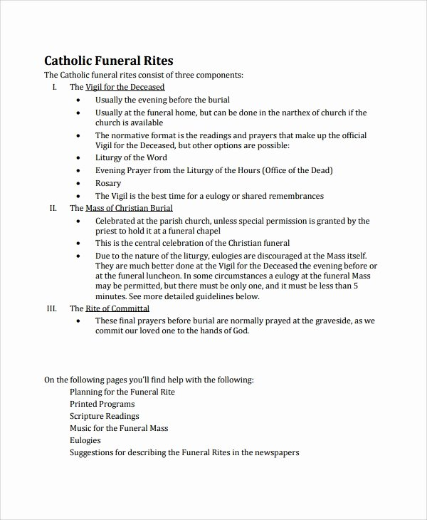 Funeral Mass Program Templates Awesome Sample Catholic Funeral Program 12 Documents In Pdf