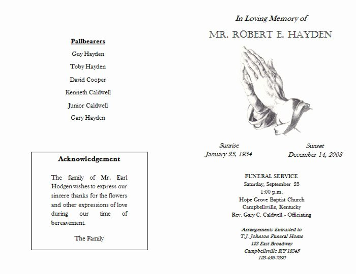 Funeral Mass Program Templates Beautiful Free Funeral Booklet Templates
