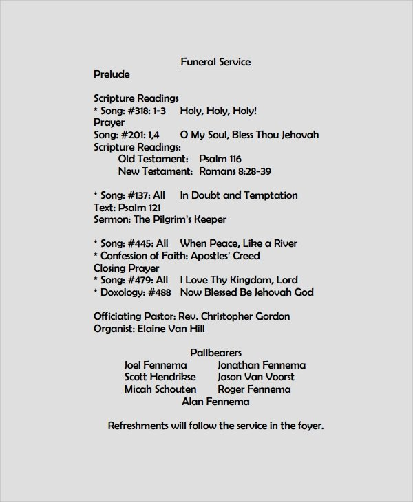 Funeral Mass Program Templates Inspirational Sample Funeral Program format Template 6 Free Documents