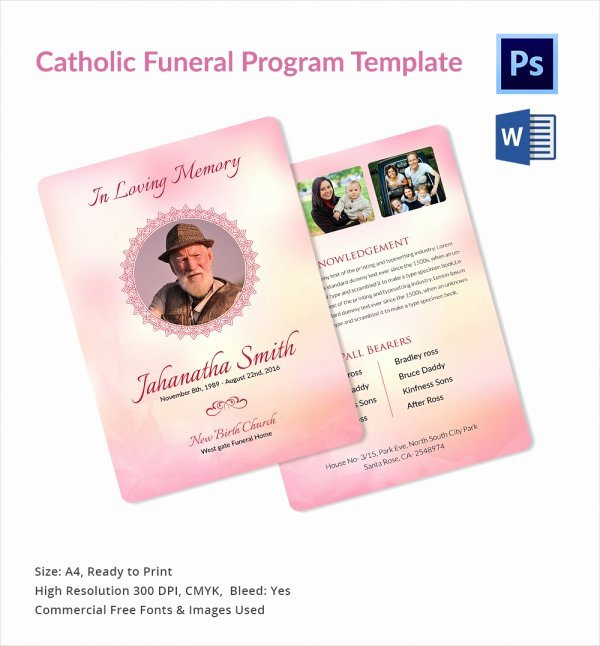 Funeral Mass Program Templates New Sample Catholic Funeral Program 12 Documents In Pdf