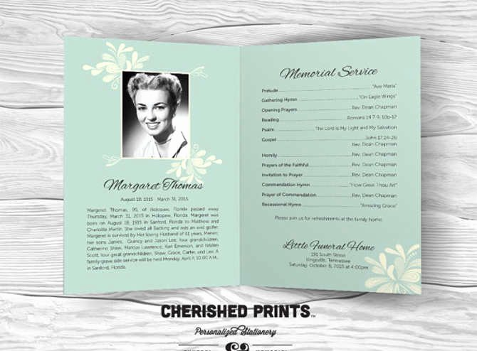 Funeral Program Template Free Beautiful Free Editable Funeral Program Template