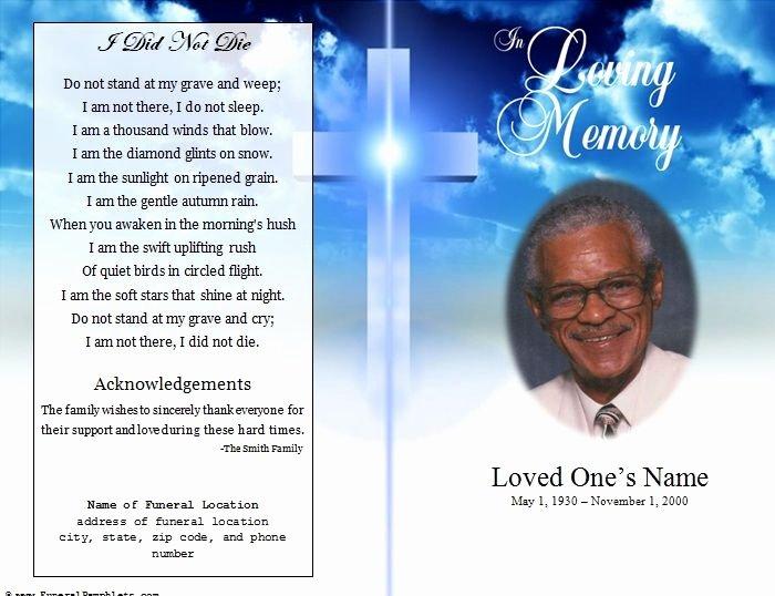 Funeral Program Template Free Elegant Single Fold Cross Memorial Program Funerals