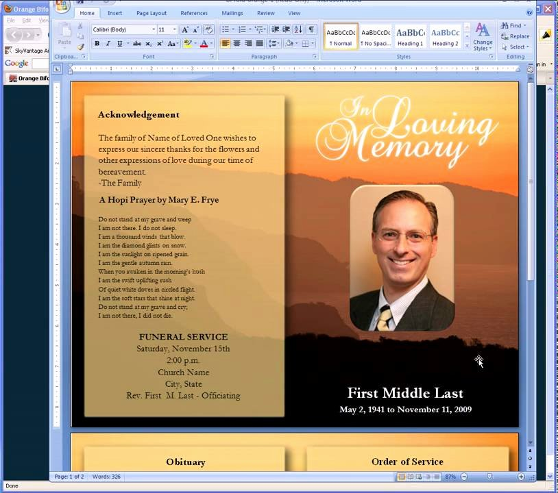 Funeral Program Template Free Fresh Free Funeral Program Templates