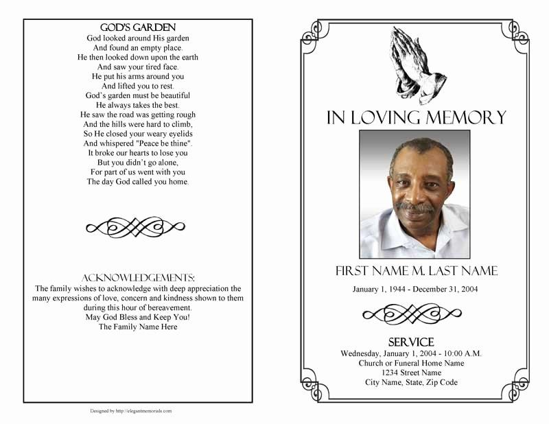 Funeral Program Template Free Fresh Praying Hands Funeral Program Template Elegant Memorials