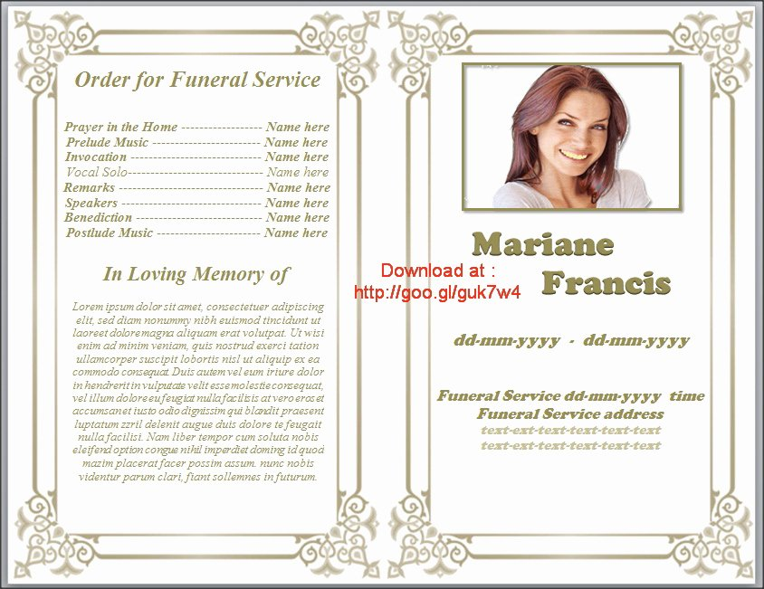 Funeral Program Template Free Inspirational Free Printable Funeral Program Template