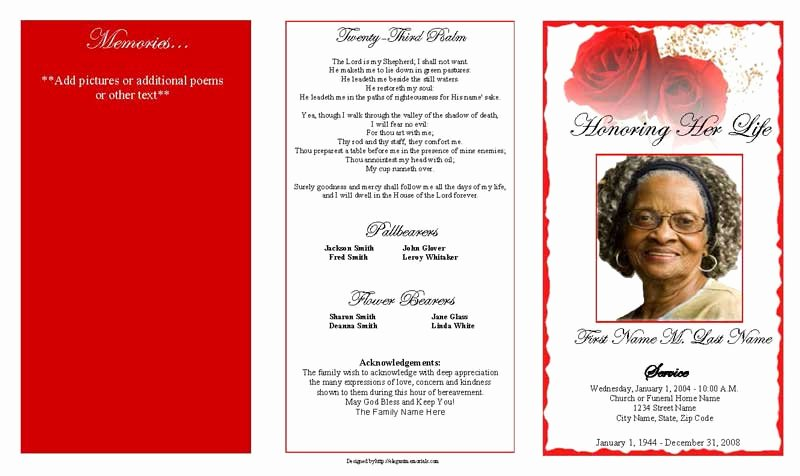 Funeral Program Template Free Inspirational Red Rose Trifold Funeral Program Template Elegant Memorials