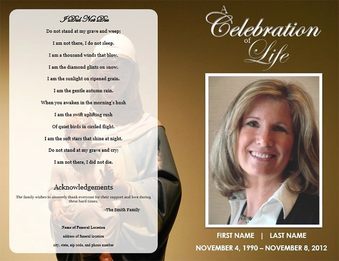 Funeral Program Template Free Lovely 39 Funeral Program Templates Pdf Psd Docs