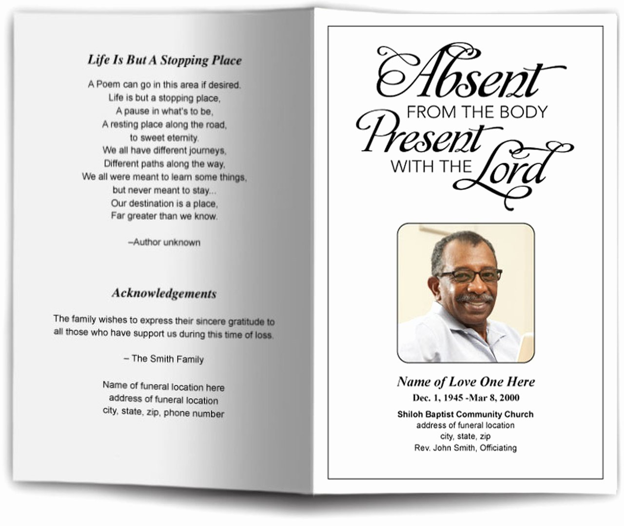 Funeral Program Template Free Lovely Present Funeral Program Template