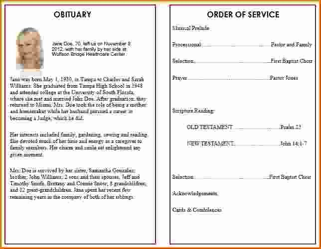 Funeral Program Template Free New 9 Memorial Service Program Template