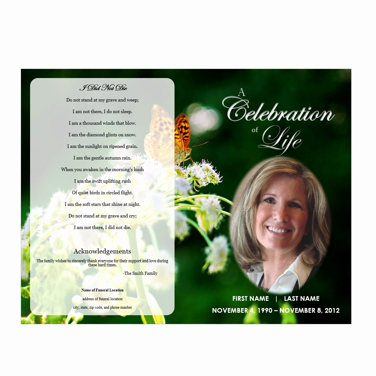 Funeral Program Template Free New butterfly Memorial Program