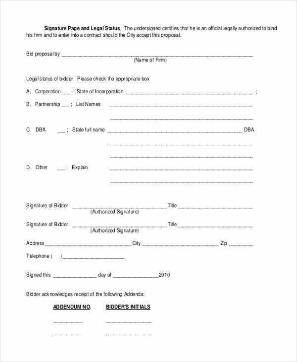 construction bid form