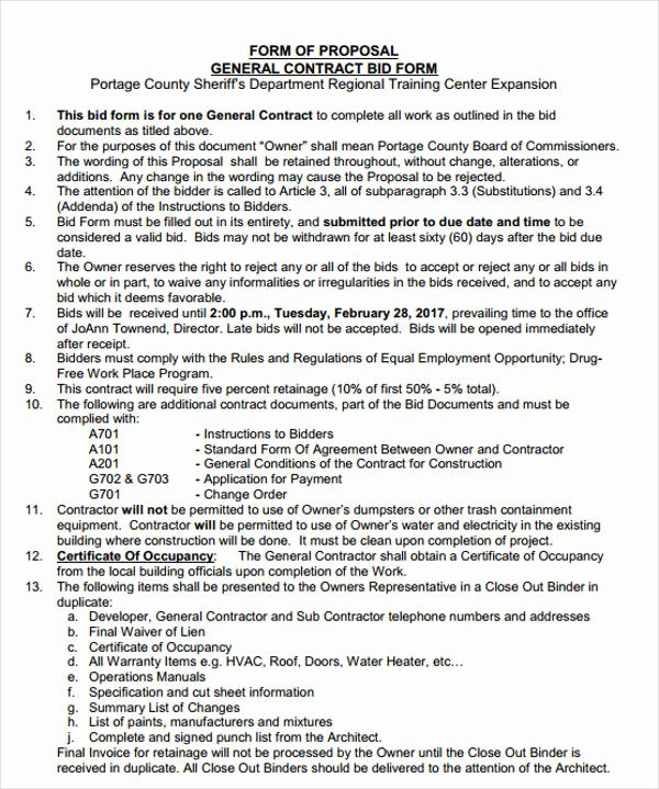 General Contractor Proposal Template Beautiful 7 Free Contractor Bid form Examples Pdf