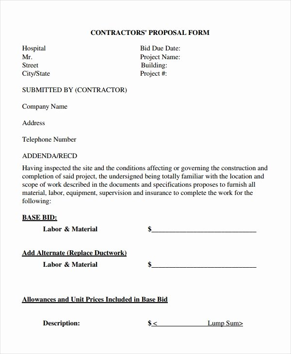 General Contractor Proposal Template Fresh Contractor Proposal Template 15 Free Word Pdf Document