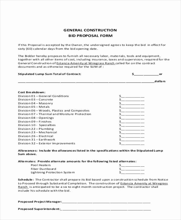 General Contractor Proposal Template Luxury 9 Bid Proposal form Samples Free Sample Example format