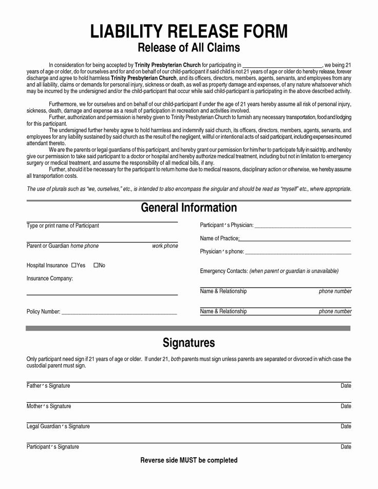 General Release form Template Awesome General Liability Waiver form