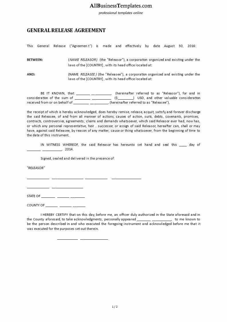 General Release form Template Beautiful General Release form