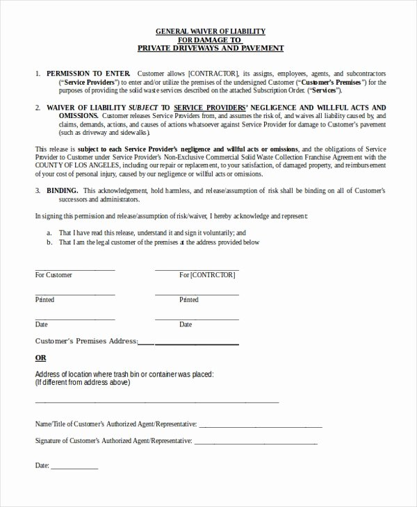 General Release form Template Best Of Free 10 Sample General Liability forms In Pdf