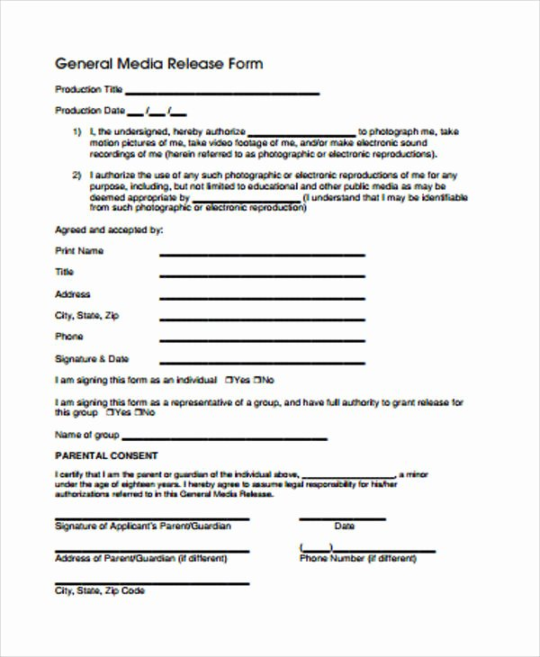 General Release form Template Elegant General Release form Sample 8 Examples In Word Pdf