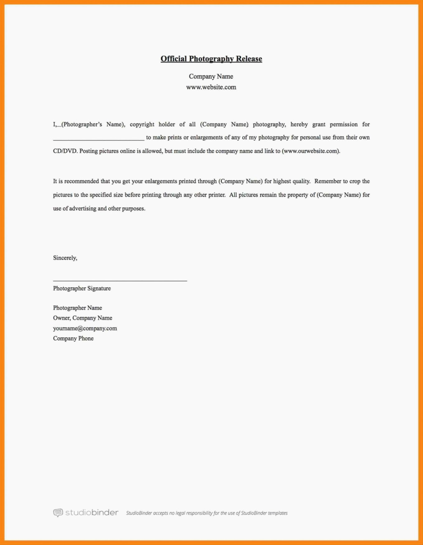General Release form Template Fresh 14 General Release