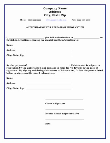26 images of standard medical authorization form template 8107