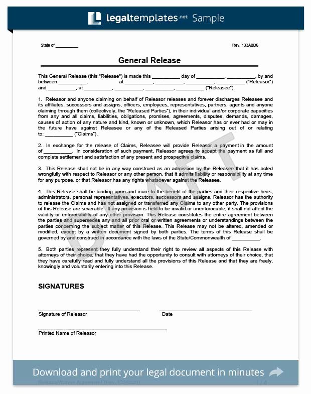 General Release form Template Fresh Free Release Of Liability form