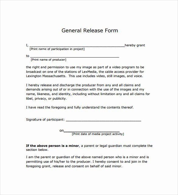 General Release form Template Fresh General Release form 7 Free Samples Examples & formats