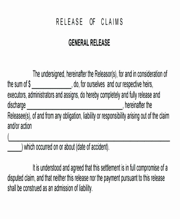 General Release form Template Inspirational General Liability Release form Template Pics – General