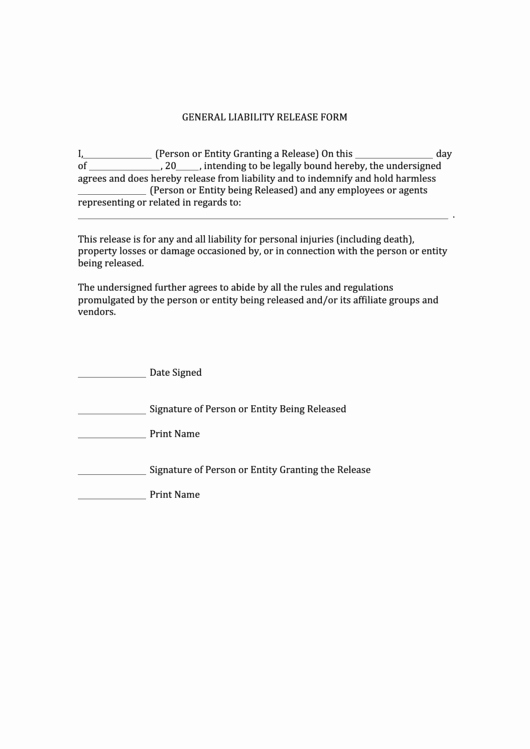 General Release form Template Luxury top 24 General Release Liability form Templates Free to