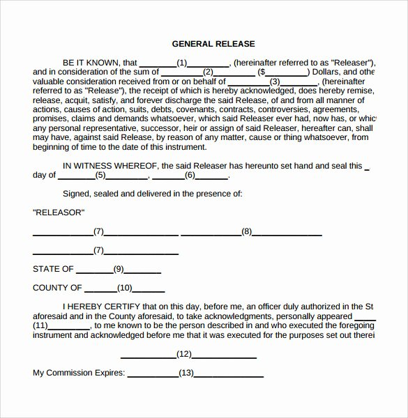 General Release form Template New General Release form 7 Free Samples Examples & formats
