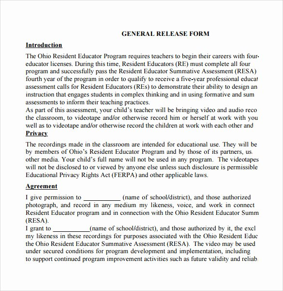 General Release form Template Unique General Release form 7 Free Samples Examples & formats