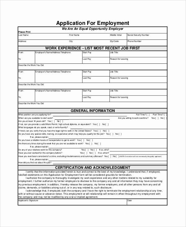 Generic Job Application Template Fresh Employment Application form Samples Examples Templates