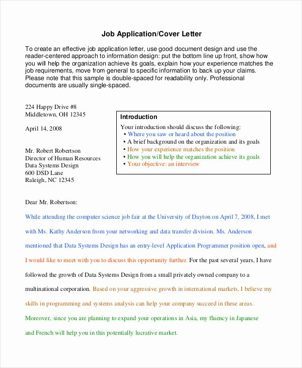 Generic Job Application Template Fresh Generic Job Application 8 Free Word Pdf Documents