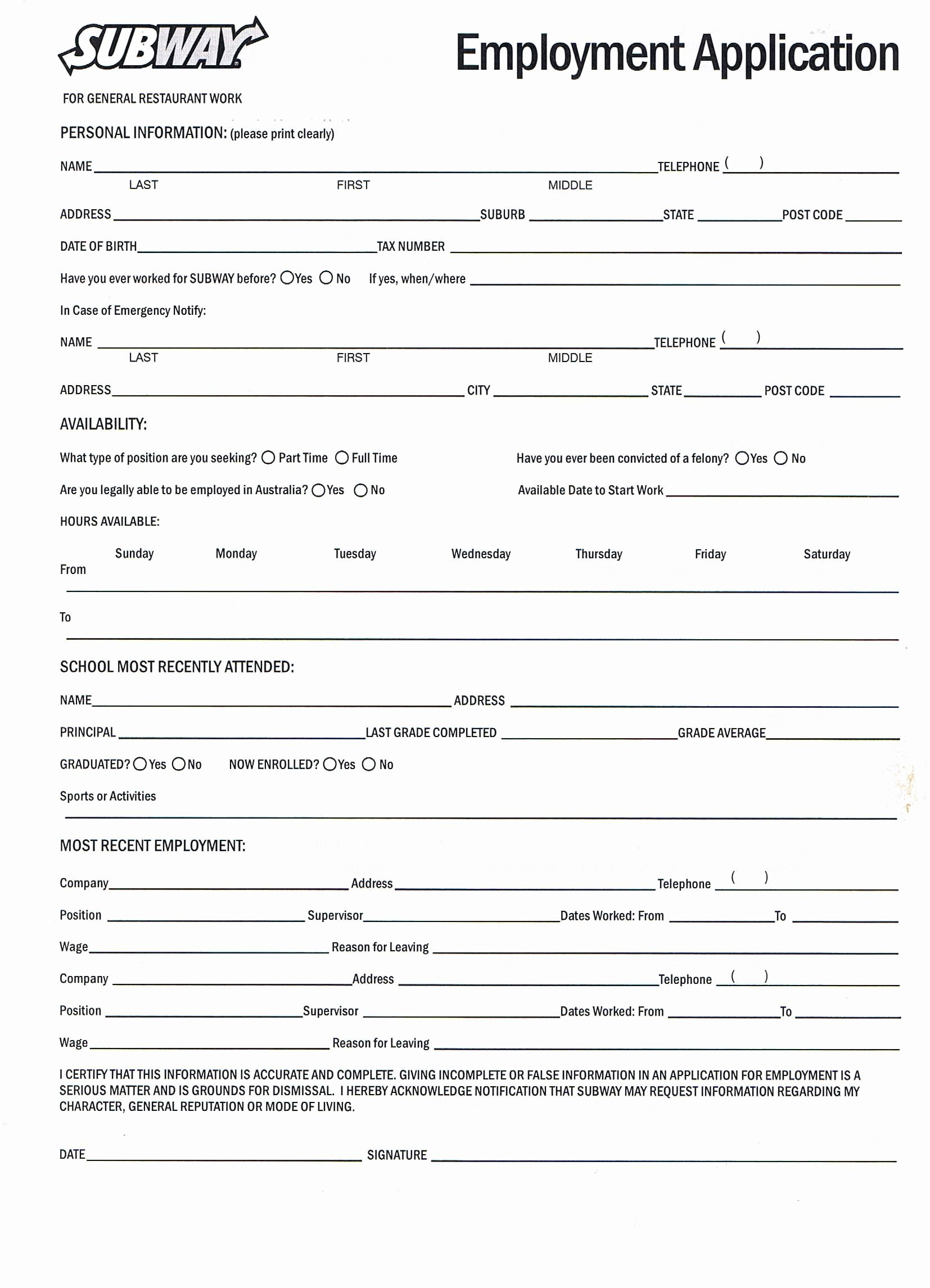Generic Job Application Template Inspirational Printable Job Application forms Online forms Download and