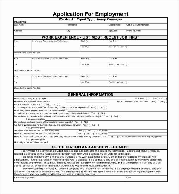 Generic Job Application Template Lovely 4 Employment Application form Templates Pdf