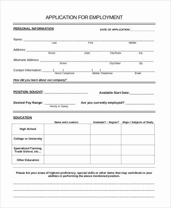 Generic Job Application Template Lovely Generic Job Application