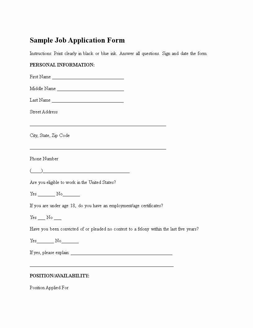 Generic Job Application Template Unique Generic Job Application form
